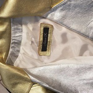 Gold and Silver Lamé Leather Jacket